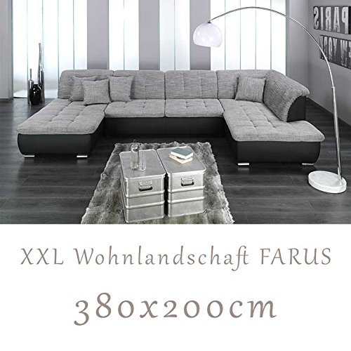 wohnlandschaft couchgarnitur xxl sofa u form schwarz grau ottomane rechts m bel24. Black Bedroom Furniture Sets. Home Design Ideas