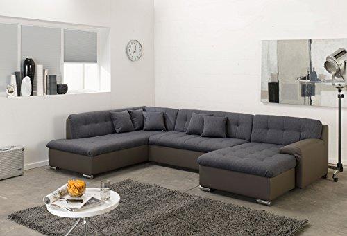 wohnlandschaft rocky u form mit schlaffunktion braungrau. Black Bedroom Furniture Sets. Home Design Ideas
