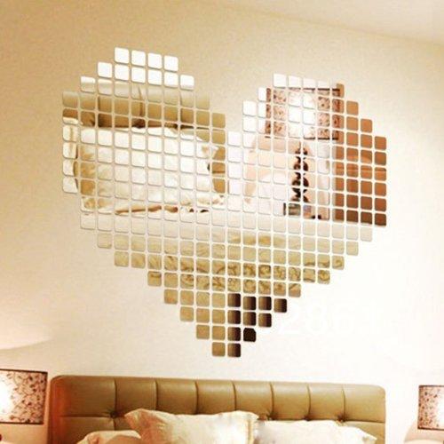 Wuiyepo 100 Stück DIY Fashion Silber 3D Wandaufkleber Mosaik Spiegel Abnehmbare Wohnzimmer-Dekoration