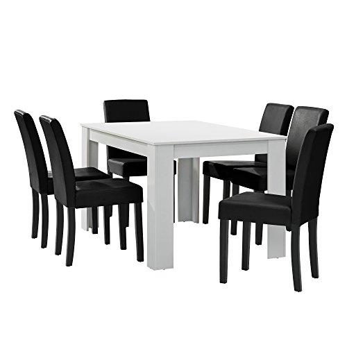 [en.casa] Esstisch weiß matt mit 6 Stühlen schwarz Kunstleder gepolstert 140x90 Essgruppe Esszimmer