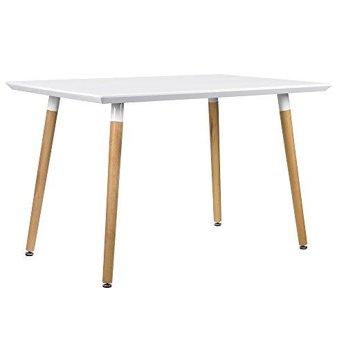 [en.casa] Esszimmertisch für 4 Stühle weiß [120x80cm] Esszimmer Essgruppe Wohnzimmer