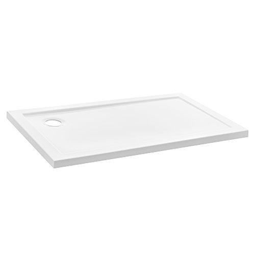 [neu.haus] Duschwanne 70x120cm reinweiß Duschtasse rechteckig extra flach Bad