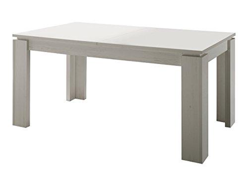 trendteam ET16256 Esstisch Wohnzimmertisch Tisch weiss Anderson Pinie, ausziehbar LxBxH 160-200x90x77 cm
