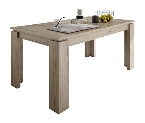 trendteam ET16290 Esstisch Wohnzimmertisch Tisch Eiche San Remo Hell Nachbildung, ausziehbar LxBxH 160-200x90x77 cm