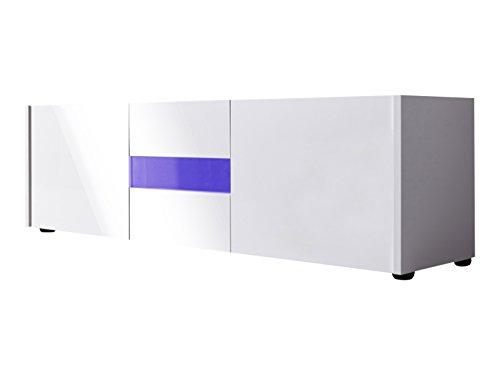 trendteam IM32001 TV Möbel Lowboard weiss Hochglanz lackiert, BxHxT 150 x 45 x 39 cm