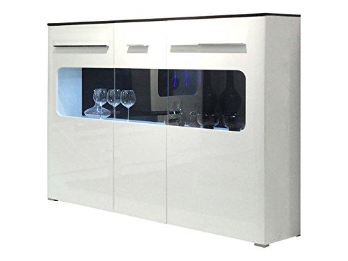trendteam lu86302 highboard wohnzimmerschrank weiss. Black Bedroom Furniture Sets. Home Design Ideas