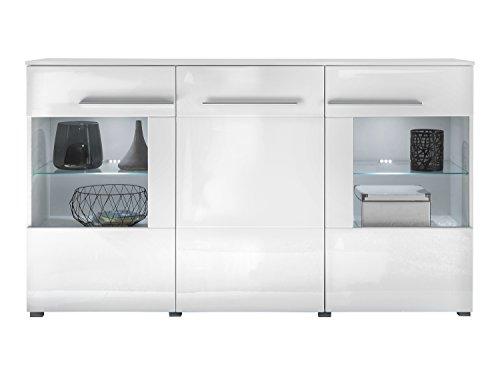 trendteam vis87301 sideboard wei hochglanz bxhxt 163 x 97 x 40 cm m bel24. Black Bedroom Furniture Sets. Home Design Ideas