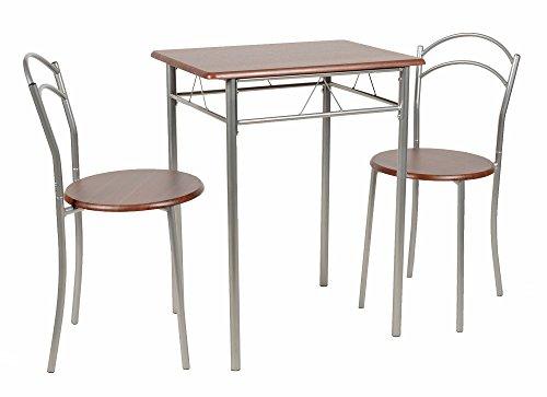 ts-ideen 3er Set Essgruppe Esstisch Küchentisch Tisch Stühle platzsparend Alugestell in Silber und Nussbaum-Optik 60 x 45 cm für die Küche Esszimmer Studentenwohnung