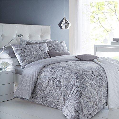weißlinge Paisley grau Bettbezug & Kissenbezug Set Bettwäsche Digital Print Quilt Fall Betten Schlafzimmer Sofa, Grau, King Size