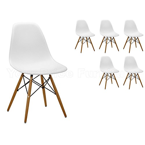 6x Stühle, modern, Stil: Eiffel, Sitze in Kunststoff, Weiß