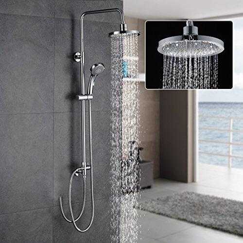 Angebot!!! 2 in 1 Duschset = Duschkopf(20cm)+Handbrause(150cm) Duschset Auralum Messing Überkopf-Brauseset ohne thermostat