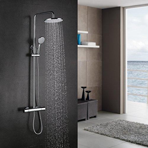 Auralum® Chrom Überkopf-Brauseset Duschsystem mit Brausethermostat inkl. Handbrause und Regenbrause