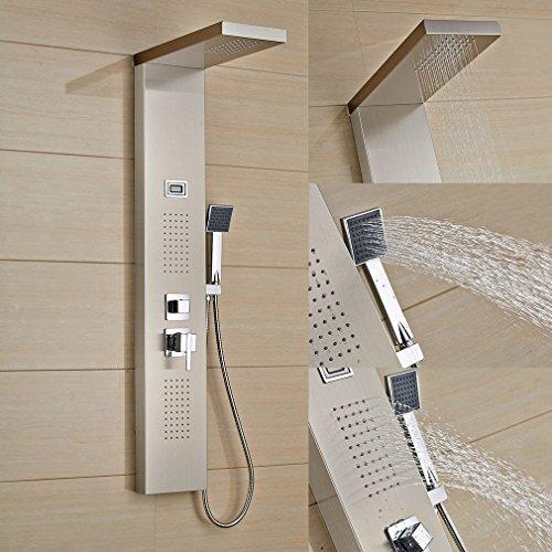 Auralum® Duschset Duscharmatur mit Duschkopf und Handbrause Edelstahl Duschsystem