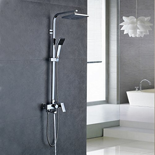 Auralum® Duschsystem mit Wasserhahn für Badezimmer und Badewanne mit 20 x 20 cm Wellness-Kopfbrause, Handbrause 3 Strahlarten, Duschsäule aus Kupfer und 150cm Brauseschlauch