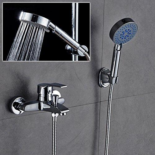 Auralum® Elegant Chrom Duschsystem Wasserfall Wandhalterung Duschset Inkl. Wasserhahn +Handbrause mit 1,5m Schlauch für Bad Badezimmer