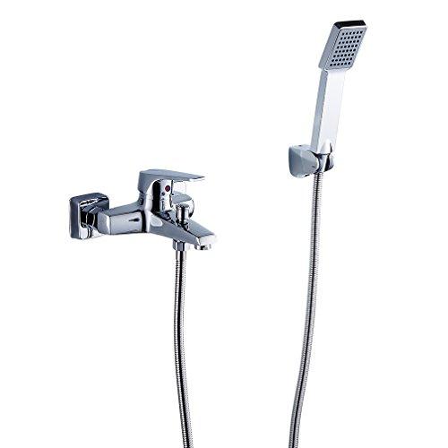 Auralum® Elegant Deisign Chrom Armatur Wasserfall Duschset Zeitgenössische Badewanne Wasserhahn inkl. Wandhalterung mit Handbrause für Bad