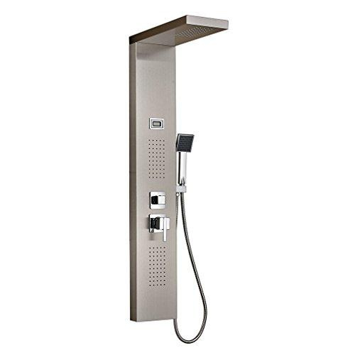 Auralum® Elegant Design Regendusche Set Duschset Edelstahl Duschpaneel Thermostat mit Massagejets & Wasserfall mit LCD Display Wassertemperatur Anzeigen ink. Handbrause 2 Jahre Garantie