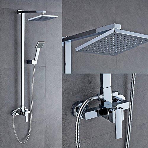 Auralum® Elegant Duscharmatur Duschsystem Überkopfbrause Regenduschkopf Duschstange mit Handbrause Regenbrause Wasserhahn