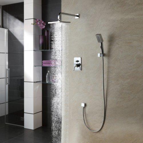 Auralum® Elegant Morderne Duschsystem Duschset Kopfbrause Wasserfall Duschen Brauseset Inkl. Regenkopf + Handbrause Wandhalterung Duschpanel