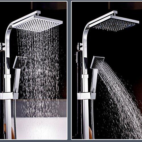 Auralum® Elegante Chrom Duschset Variabel Duschset Thermostat und Höhenverstellbar (ca. 82 bis 122cm) Wellness-Überkopfbrause (20x20cm) Inkl. Handbrause (230 mm)+ Regenbrause +Ventil