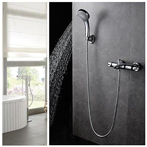 Auralum® Kalsischdesign Duschthermostat Handbrauseset Duschsystem Dusche Inkl. Handbrause + Wasserhahn+ Wandhalterung