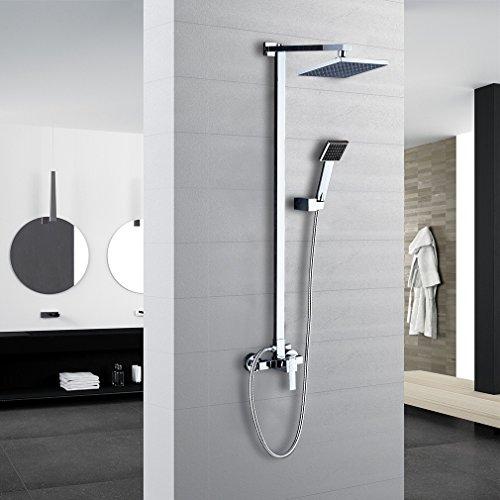 Auralum® Klasischdesign Duschkopf Regenkopf Dusch Set Überkopf Brauseset Inkl. Wandhalterung & Handbrause & Regenbrause