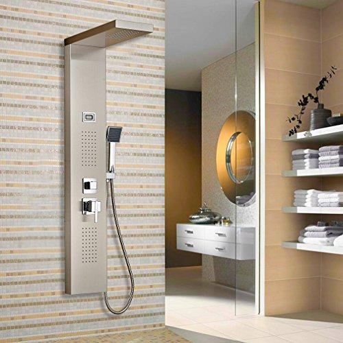 Auralum® Luxus Design Duschpaneel Chrom Duschsystem Wasserfall Duschen Duschset Duschstange mit Handbrause LCD Display Wassertemperatur Anzeigen 2 Jahre Garantie
