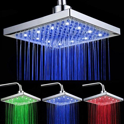 Auralum® Moderne Top Spray Festmischer Duschkopf Überkopf-Brause mit 4 Abwechslungsreiche LED RGB Farbe, Regendusche Regenbrause die Beleuchtungsanlage für Badezimmer-Installation(Quadratische Form)