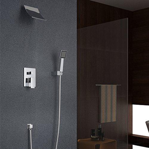 Auralum® Morderne Duschsystem Wasserfall Duschen Brauseset Inkl. Wasserhahn + Duschkopf Handbrause Wandhalterung Duschpanel
