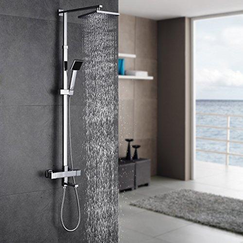 auralum regendusche duschs ule inkl thermostat duschset chrom eckig duschsystem duscharmatur. Black Bedroom Furniture Sets. Home Design Ideas