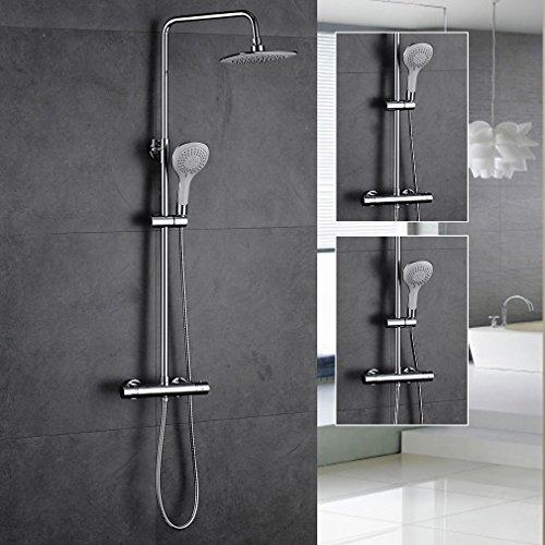 Auralum® Thermostat Regenbrause Regenduschkopf Duschsystem Set mit Handbrause Dusche