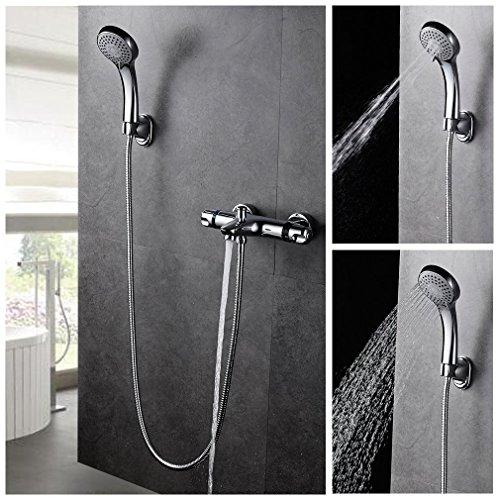 Auralum® Zeitgenössig Duschthermostat Handbrauseset Duschsystem Dusche Inkl. Handbrause + Wasserhahn+ Wandhalterung