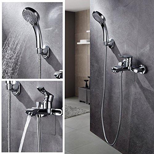 Auralum® Zeitgenössig Handbrauseset Duschsystem Dusche Badewannenarmatur Badewannenhahn Wasserfall Inkl. Handbrause + Wasserhahn+ Wandhalterung