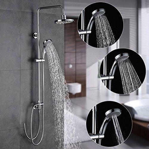 auralum elegante duschset runde berkopfbrause h henverstellbar regenduschkopf wasserfall. Black Bedroom Furniture Sets. Home Design Ideas