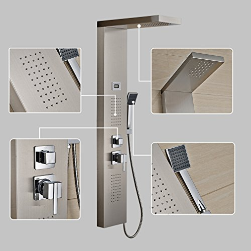 Auralun® 304 Edelstahl Brausegarnitur Set Regendusche Duschpaneel Duschsäule mit Handbrause,Brausekopf und 150cm Duschschlauch