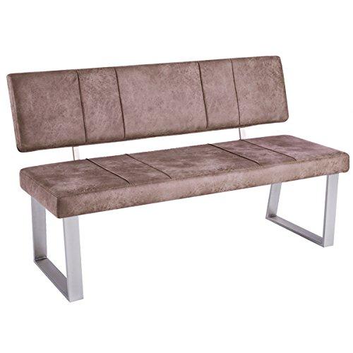 bank mit r ckenlehne sitzbank santa trieste sitz kunstleder gestell edelstahl look vintage hell. Black Bedroom Furniture Sets. Home Design Ideas