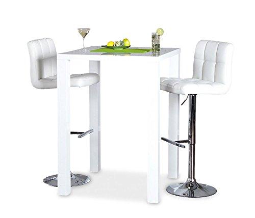 Bar-Tisch Tresen Küchentisch Weiß Hochglanz Stehtisch Bartresen Esstisch Ablage Küche 105x80x80cm