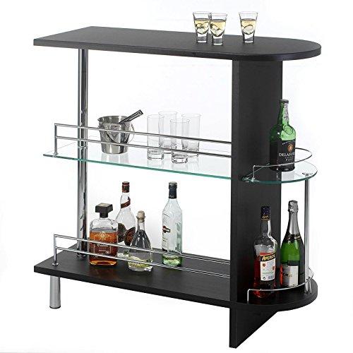 Bartisch Tresentisch Bistrotisch JAMES, mit 2 Regalfächern und Glaseinsatz, in schwarz