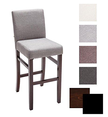 CLP Holz Bar-Stuhl ALVIN mit Stoffbezug, Sitzhöhe 75 cm, mit 11,5 cm dicker Polsterung, FARBWAHL Holz Farbe cappuccino, Bezug Farbe hellgrau