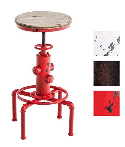 CLP Metall-Barhocker LUMOS mit Holzsitz in Hydranten-Form, Industrial Design, robust & höhenverstellbar, Sitzhöhe 59 - 75 cm rot