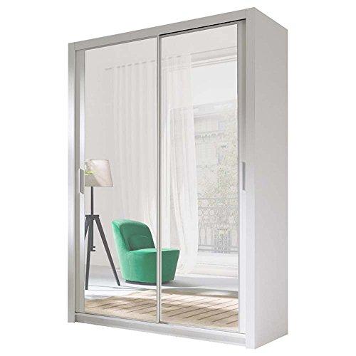 JUSThome 150 Kleiderschrank Garderobenschrank Schwebetürenschrank Weiß 150x125x62 cm