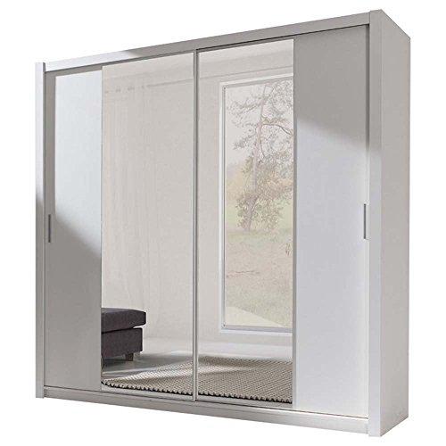 JUSThome 220 Kleiderschrank Garderobenschrank Schwebetürenschrank 220x215x62 cm Weiß