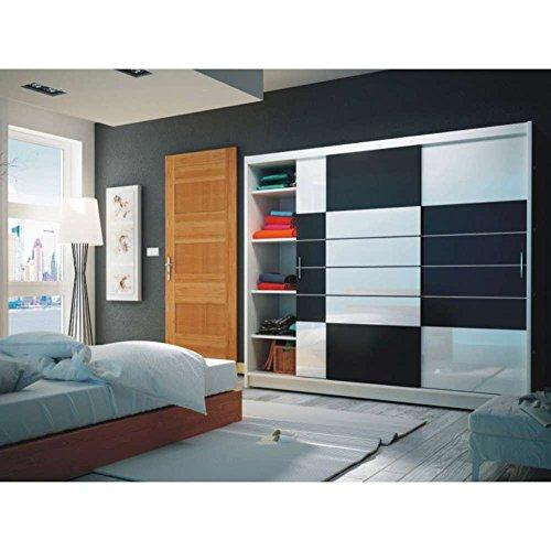 JUSThome Aruba 250 Schwebetürenschrank Kleiderschrank Garderobenschrank Weiß Schwarz / weißes Glas (HxBxT): 215x250x61 cm