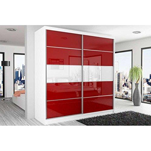 JUSThome Beauty IV Schwebetürenschrank Kleiderschrank Garderobenschrank 218x200x60 cm Farbe: Weiß Matt / Rot Weiß Hochglanz