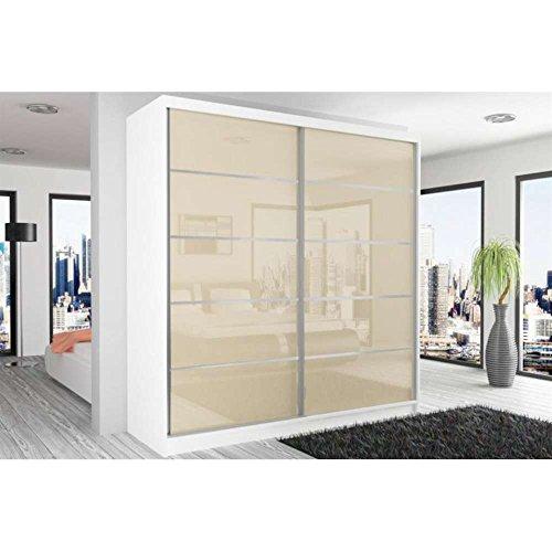 JUSThome Beauty XI Schwebetürenschrank Kleiderschrank Garderobenschrank 218x200x60 cm Farbe: Weiß Matt / Perle Hochglanz