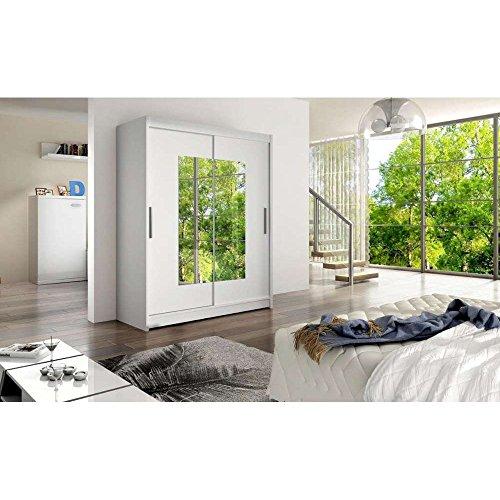 JUSThome Dorrigo Schwebetürenschrank Kleiderschrank Garderobenschrank (HxBxT): 200x150x58 cm Farbe: Weiß