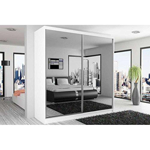 JUSThome Mirror I Schwebetürenschrank Kleiderschrank Garderobenschrank 218x133x60 cm Farbe: Weiß Matt Spiegel