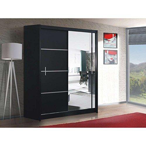 JUSThome Porto Vista 150 Schwebetürenschrank Kleiderschrank Garderobenschrank Schwarz Matt / Spiegel (HxBxT): 215x150x61 cm