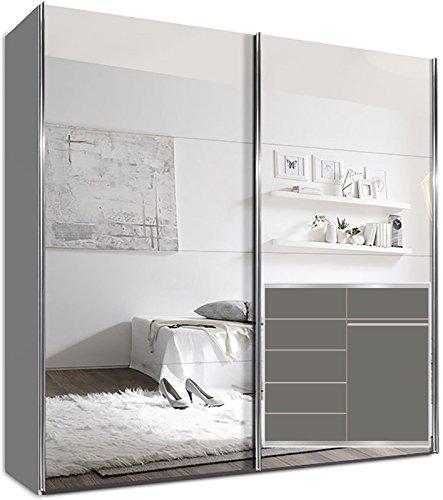 Kleiderschrank Schwebetürenschrank, 225 x 220 x 69 cm, inkl. 5 Einlegeböden Weiß Spiegel und Chromgriffen