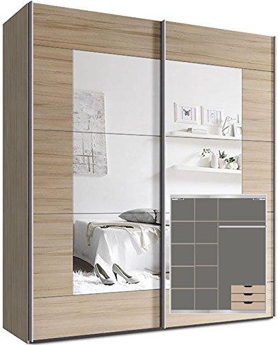 Kleiderschrank Schwebetürenschrank, ca. 180cm, inkl. 9 Einlegeböden, Türdämpfer für 2 Türen und 3x Schubladen Buche Spiegel